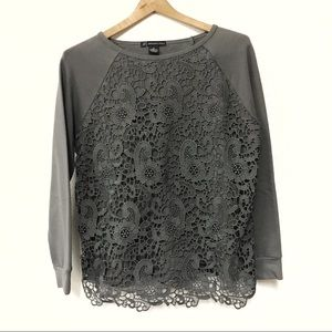 Adriana Papell Grey Lace Front Sweatshirt Small